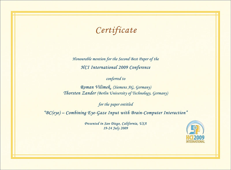 HCI International 2009 2nd Best Paper Certificate. Details in text following the image.