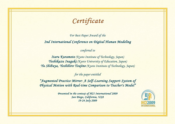 Certificate for best paper award of the 2nd International Conference on Digital Human Modeling. Details in text following the image