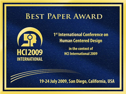1st International Conference on Human Centered Design Best Paper Award. Details in text following the image.