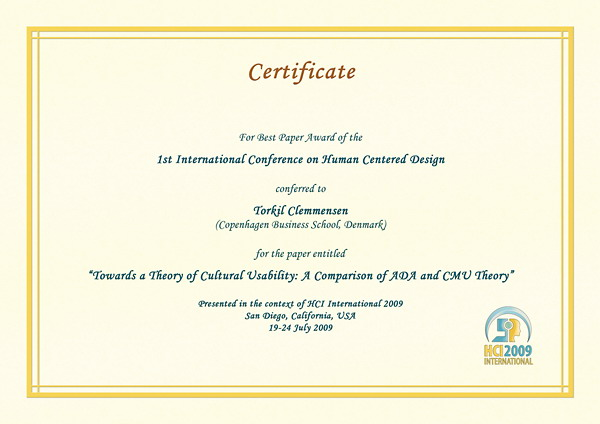 Certificate for best paper award of the 1st International Conference on Human Centered Design. Details in text following the image