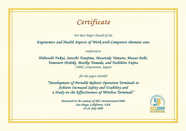 Certificate for best paper award of the Ergonomics and Health Aspects of Work with Computers thematic area. Details in text following the image