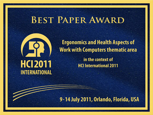 Ergonomics and Health Aspects of Work with Computers Best Paper Award. Details in text following the image.