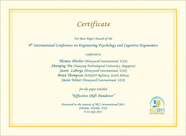 Certificate for best paper award of the 9th International Conference on Engineering Psychology and Cognitive Ergonomics. Details in text following the image