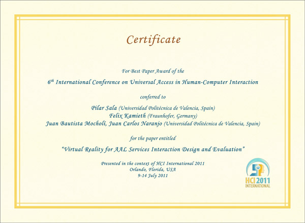 Certificate for best paper award of the 6th International Conference on Universal Access in Human-Computer Interaction. Details in text following the image