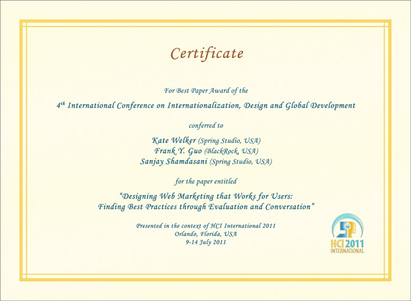Certificate for best paper award of the 4th International Conference on Internationalization, Design and Global Development. Details in text following the image