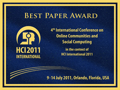4th International Conference on Online Communities and Social Computing Best Paper Award. Details in text following the image.