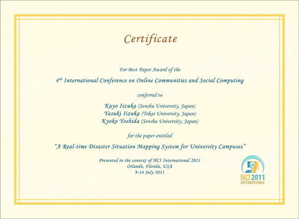 Certificate for best paper award of the 4th International Conference on Online Communities and Social Computing. Details in text following the image