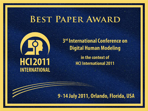 3rd International Conference on Digital Human Modeling Best Paper Award. Details in text following the image.