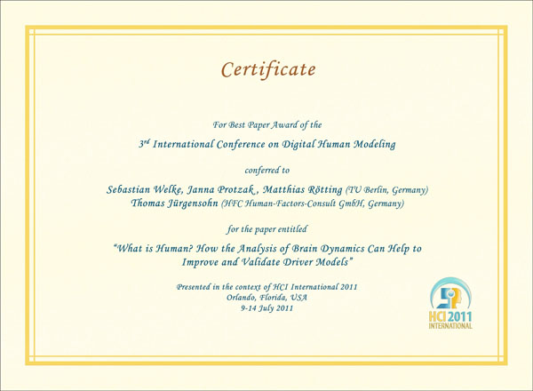 Certificate for best paper award of the 3rd International Conference on Digital Human Modeling. Details in text following the image