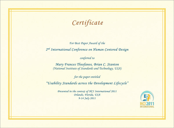 Certificate for best paper award of the 2nd International Conference on Human Centered Design. Details in text following the image