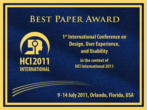 1st International Conference on Design, User Experience, and Usability Best Paper Award. Details in text following the image.