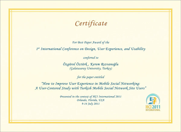 Certificate for best paper award of the 1st International Conference on Design, User Experience, and Usability. Details in text following the image