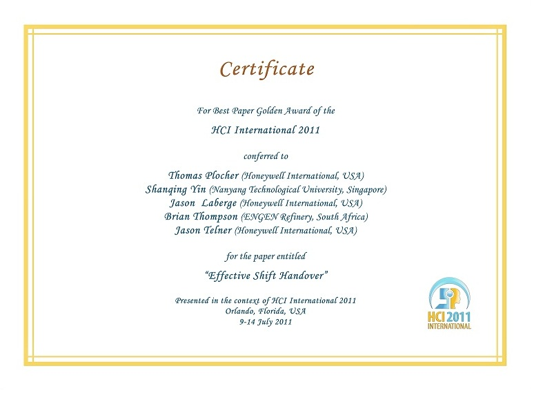 HCI International 2011 Best Paper Certificate. Details in text following the image.