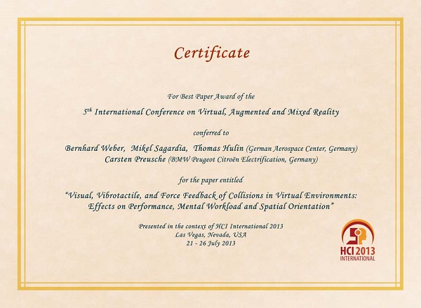 Certificate for best paper award of the 5th International Conference on Virtual, Augmented and Mixed Reality. Details in text following the image