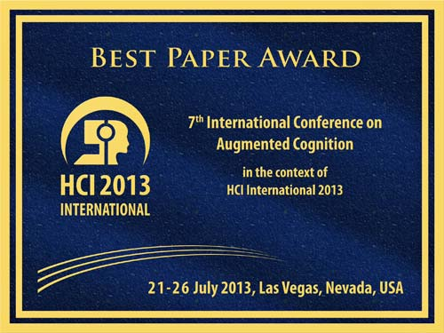 Augmented Cognition Best Paper Award. Details in text following the image.