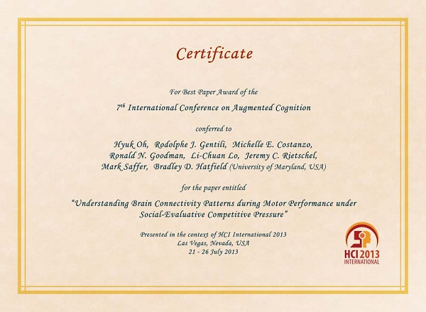 Certificate for best paper award of the 7th International Conference on Augmented Cognition. Details in text following the image