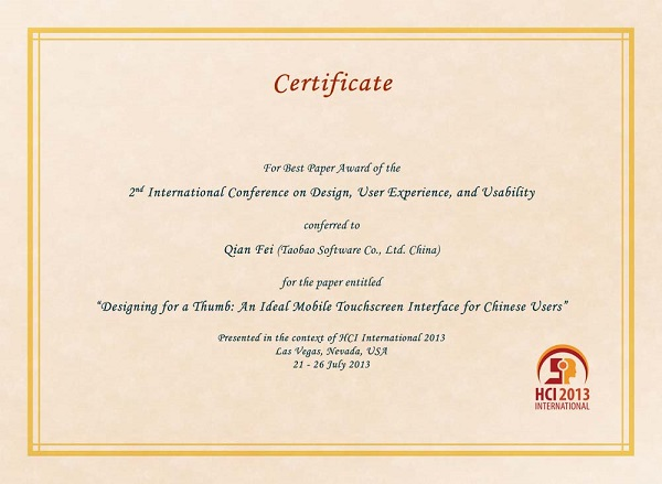 Certificate for best paper award of the 2nd International Conference on Design, User Experience and Usability. Details in text following the image