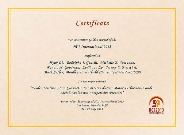HCI International 2013 Best Paper Certificate. Details in text following the image.