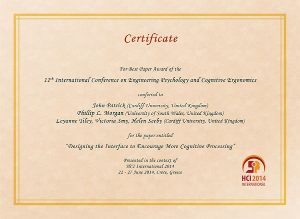 Certificate for best paper award of the 11th International Conference on Engineering Psychology and Cognitive Ergonomics. Details in text following the image