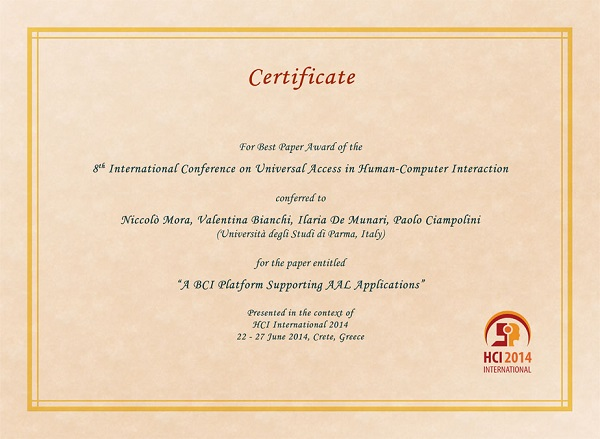 Certificate for best paper award of the 8th International Conference on Universal Access in Human-Computer Interaction. Details in text following the image