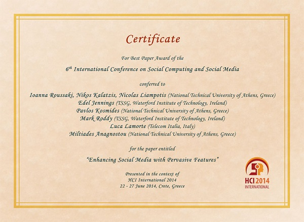 Certificate for best paper award of the 6th International Conference on Social Computing and Social Media. Details in text following the image