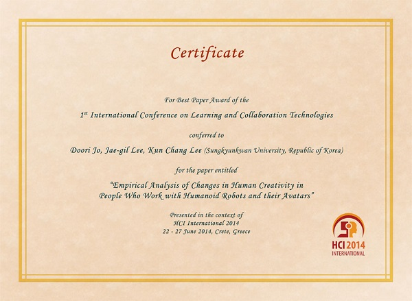 Certificate for best paper award of the 1st International Conference on Learning and Collaboration Technologies. Details in text following the image