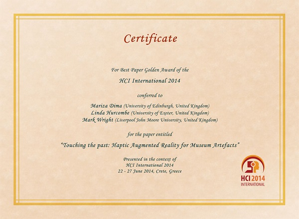 HCI International 2014 Best Paper Certificate. Details in text following the image