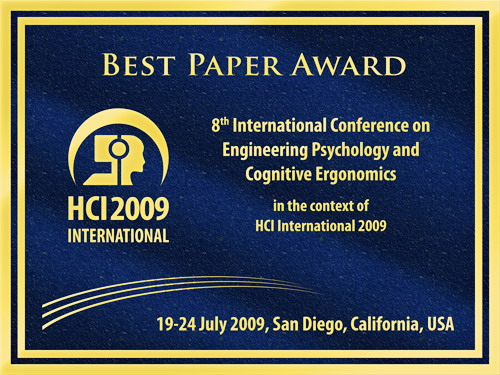 8th International Conference on Engineering Psychology and Cognitive Ergonomics Best Paper Award. Details in text following the image.
