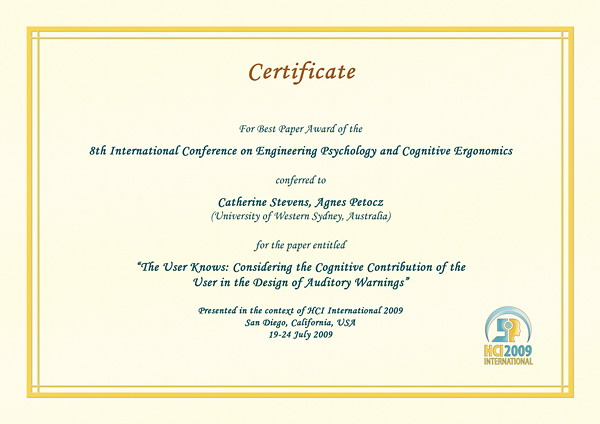 Certificate for best paper award of the 8th International Conference on Engineering Psychology and Cognitive Ergonomics. Details in text following the image