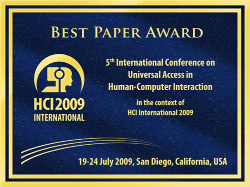 5th International Conference on Universal Access in Human-Computer Interaction Best Paper Award. Details in text following the image.