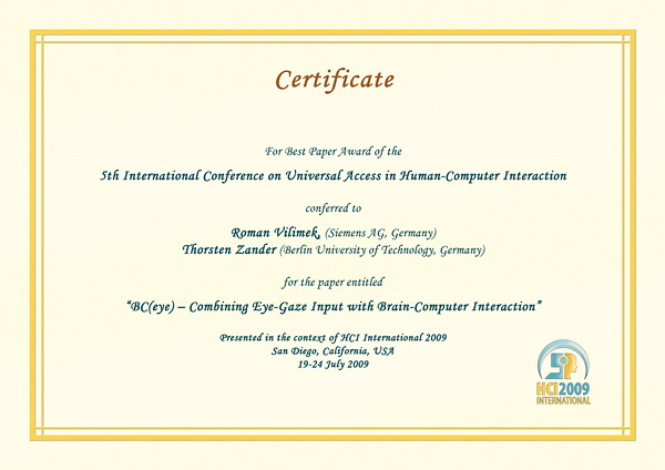 Certificate for best paper award of the 5th International Conference on Universal Access in Human-Computer Interaction. Details in text following the image