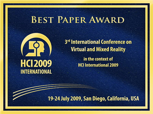 3rd International Conference on Virtual and Mixed Reality Best Paper Award. Details in text following the image.