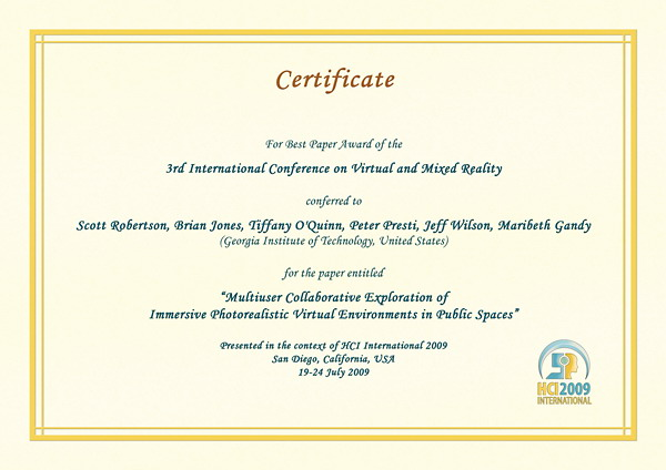 Certificate for best paper award of the 3rd International Conference on Virtual and Mixed Reality. Details in text following the image