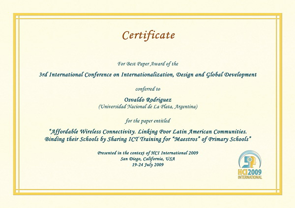 international conference certificate templates - hci international