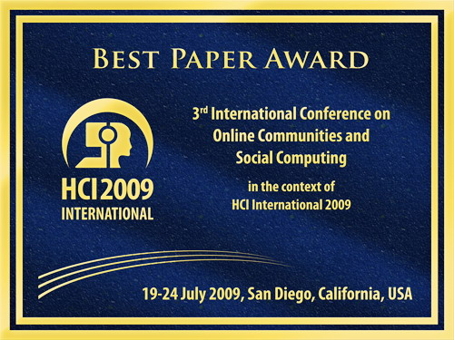 3rd International Conference on Online Communities and Social Computing Best Paper Award. Details in text following the image.