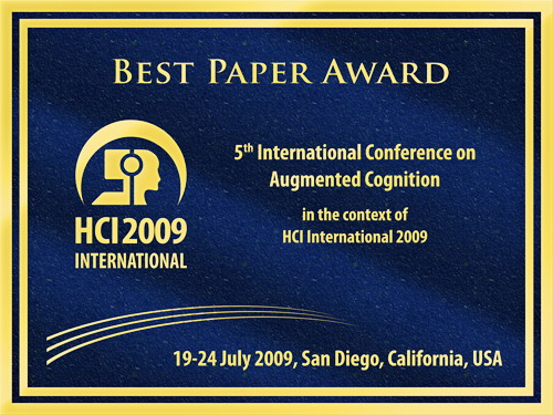 5th International Conference on Augmented Cognition Best Paper Award. Details in text following the image.